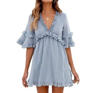 💙Baby Blue Ruffle Bell Sleeve Dollie Dress, S-L